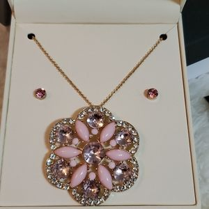 NEW KIM ROGERS GOLD TONE FLORAL NECKLACE S…